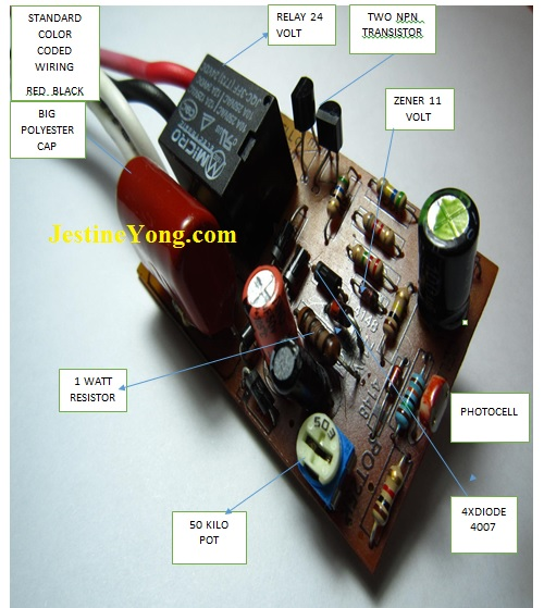 Day/Night Switch Sensor Light Repair (With Hand Drawn ... on black white wire switch wiring diagram, switch to switch wiring diagram, 3 wire switch diagram,