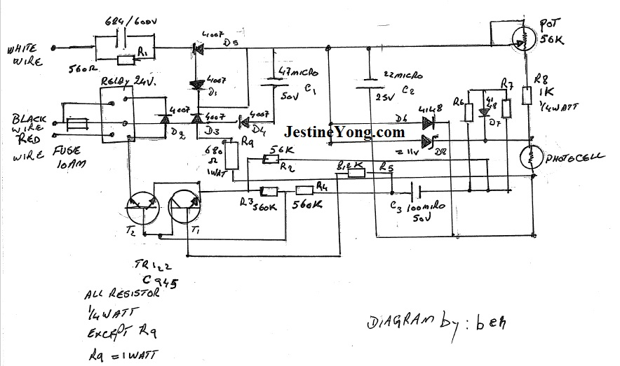 Day  Night Switch Sensor Light Repair  With Hand Drawn Schematic Diagram